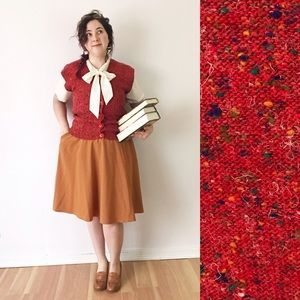 Vintage Knit Button Up Sweater Vest Red Librarian